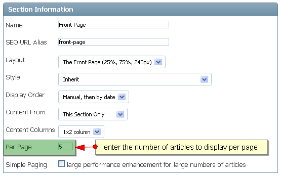 Section - Articles per Page
